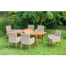 merxx 7tlg. Ranzano Set, 6 Sessel, Beine aus Akazienholz, 1 Ausziehtisch modern, 150 (200) x 90 cm, Akazienholz