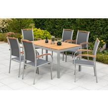 merxx 7tlg. Siena Set, 6 Siena Stapelsessel, mit Akazienholzapplikationen, 1 Tisch, 150 x 90 cm, Tischplatte aus Akazienholz, FSC Akazie