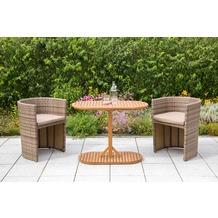 merxx Ancona Balkon Set, 3tlg., 2 Sessel inkl. Kissen, naturfarbenes Geflecht, beige Kissen, 1 Tisch, oval, 100 x 50 cm, Akazienholz,