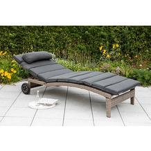 merxx Andalusia Liege, Rückenteil mehrfach verstellbar, besonders breite Liegefläche, inkl. Auflage und Kissen, graues Kunststoffgeflecht