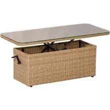 merxx Tisch, 135 x 60 x 48 / 70 cm, höhenverstellbar, Aluminiumgestell mit naturfarbenen Kunststoffgeflecht