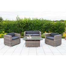 merxx Bari Lounge Set, 2 Sessel, 1 2er Bank, inkl. Kissen, 1 Tisch, höhenverstellbar, 120 x 60 x 45/68 cm, graues Geflecht