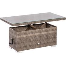 merxx Bari Tisch, höhenverstellbar, 120 x 60 x 45/68 cm, graues Geflecht
