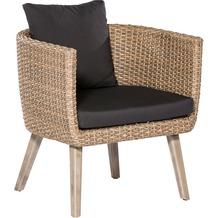 merxx Imperia Sessel, graubraunes Kunststoffgeflecht, inkl. Kissen, Sesselbeine aus FSC ® Akazienholz