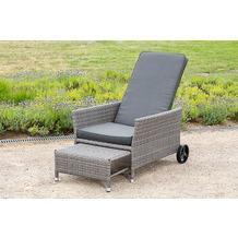 merxx Komfort Deckchair, inkl. Kissen und Fußhocker, grau