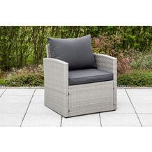 merxx Lanzarote Sessel, inkl. Sitz- und Rückenkissen, graues Kunststoffgeflecht
