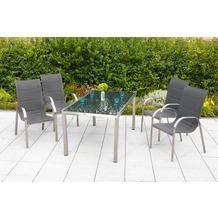 merxx Lucca Set 5tlg., Stapelsessel & rechteckiger Tisch Gartenmöbelset