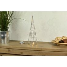 merxx Metallpyramide 40 cm, 20 LED, 13,5x40cm, 3AA Batterie