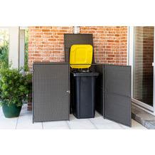 merxx Mülltonnenabdeckung 2er 153 x 75,5 x 120,5 cm, grau Stahlgestell mit Kunststoffgeflecht