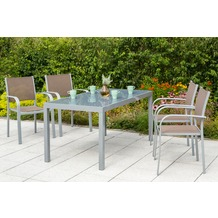 merxx Ostia Set 5tgl., Stapelsessel & rechteckiger Tisch Gartenmöbelset