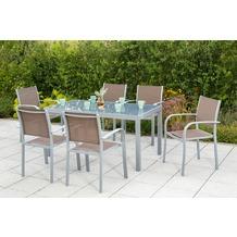 merxx Ostia Set 7tlg., Stapelsessel & rechteckiger Tisch Gartenmöbelset