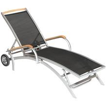 merxx Siena Rollliege mit Akazienholz-Applikation, Fuß- und Rückenteil mehrfach verstellbar, schwarz