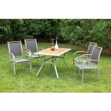 merxx Siena Set 5tlg., Stapelsessel & rechteckiger Tisch Gartenmöbelset