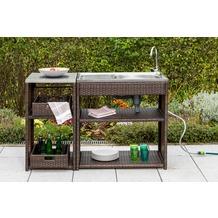 merxx Gartenspültisch mit Sideboard Kunststoffgeflecht