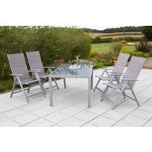 merxx Taviano Set 5tlg., Klappsessel & rechteckiger Tisch Gartenmöbelset