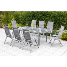 merxx Taviano Set 9tlg., 8 Taviano Klappsessel, Rückenlehne 5-fach verstellbar, padded, 1 Ausziehtisch, 180 (240) x 100 cm, silber/grau