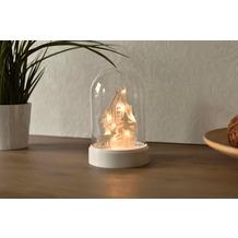 merxx Tischlicht, Glas mit 10er LED, Haus mit Rentier, 3 x AA Box, 11x17cm