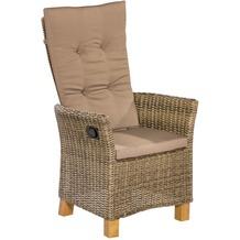 merxx Toskana Sessel, verstellbar mit Gasdruckfeder, Aluminiumgestell mit Kunststoffgeflecht und Akazienbeinen, 2er Set, nur in Natur erhältlich
