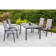 merxx Trivero Set 5tlg., Stapelsessel & rechteckiger Tisch Gartenmöbelset