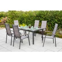 merxx Trivero Set 7tlg., Stapelsessel & rechteckiger Tisch Gartenmöbelset