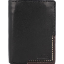 Mika Geldbörse Leder 9,5 cm schwarz