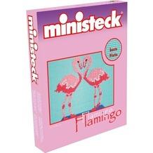 Ministeck Flamingos mit farbiger Platte