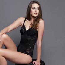 Miss Perfect Fantasy Body mit Spitze Bügelbody Body mit Bügel Shape Body Unterwäsche Schwarz 75B