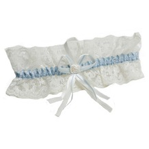 Miss Perfect Strumpfband ivory/blue breit One Size