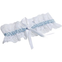 Miss Perfect Strumpfband white/blue One Size