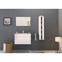 Möbilia Badezimmer Set 80 cm, 3 tlg. +A+ weiß Hochglanz 16020003