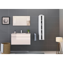 Möbilia Badezimmer Set 90 cm, 3 tlg. +A+ weiß Hochglanz 16020004