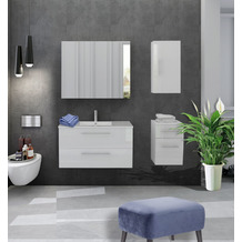 Möbilia Badezimmer Set 90 cm, 4 tlg. weiß Hochglanz 15020006