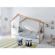 Möbilia Bett für Kinder weiß, natur 12020012
