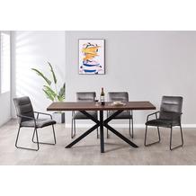 Möbilia Essgruppe Stuhl mit Samtbezug, Tischplatte MDF mit Nussbaumdekor, Gestell jeweils pulverbeschichteter Stahl Stuhlbezug dunkelgrau, Tischplatte braun, Gestell jeweils matt schwarz 17020014