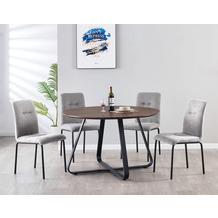 Möbilia Essgruppe Stuhl mit Stoffbezug, Tischplatte MDF mit Nussbaumdekor, Gestell jeweils pulverbeschichteter Stahl Stuhlbezug hellgrau, Tischplatte braun, Gestell jeweils matt schwarz 17020009