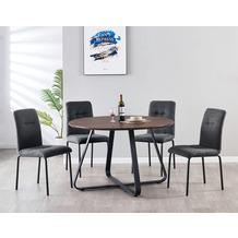 Möbilia Essgruppe Stuhl mit Stoffbezug, Tischplatte MDF mit Nussbaumdekor, Gestell jeweils pulverbeschichteter Stahl Stuhlbezug dunkelgrau, Tischplatte braun, Gestell jeweils matt schwarz 17020010