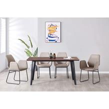 Möbilia Essgruppe Stuhl mit Stoffbezug, Tischplatte MDF mit Nussbaumdekor, Gestell jeweils pulverbeschichteter Stahl Stuhlbezug hellgrau, Tischplatte braun, Gestell jeweils matt schwarz 17020011