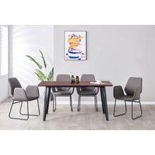 Möbilia Essgruppe Stuhl mit Stoffbezug, Tischplatte MDF mit Nussbaumdekor, Gestell jeweils pulverbeschichteter Stahl Stuhlbezug dunkelgrau, Tischplatte braun, Gestell jeweils matt schwarz 17020012
