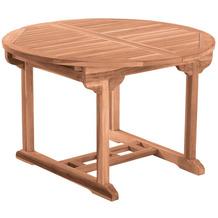 Möbilia Gartentisch, 120 cm rund, ausziehbar, Teak natur 11020016