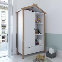 Möbilia Kleiderschrank, Hausform weiß, natur 12020003