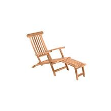 Möbilia Liegestuhl mit Fußstütze, Teak natur 11020008