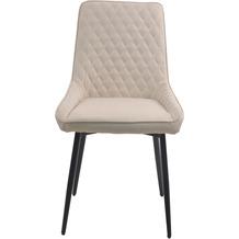 Möbilia Stuhl, 2er-Set Bezug beige, Beine schwarz 21020055