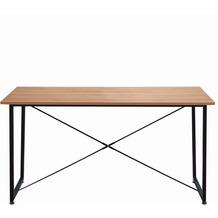 Möbilia Tisch 140x70 cm Platte natur, Gestell schwarz 12020041