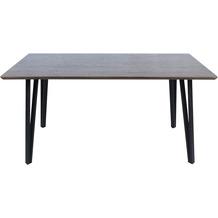 Möbilia Tisch 160x90 cm Platte Nussbaum-Dekor, Gestell matt schwarz 17020007