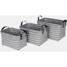 möve Aufbewahrungskörbe Weave 3-TLG grey 38x28x23cm