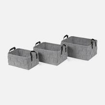 "möve Korb 3er Set ""Grey Flannel"" light grey 40 x 30 x 18 cm"