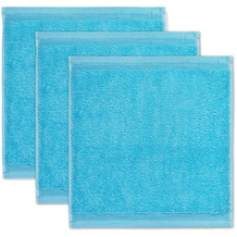 möve Seiftuch Superwuschel 3er-Pack turquoise 30 x 30 cm
