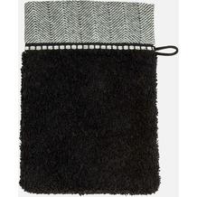 möve Waschhandschuh Brooklyn, Uni, Fischgratbordüre black 20 x 15 cm
