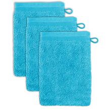 möve Waschhandschuh Superwuschel 3er-Pack turquoise 20 x 15 cm