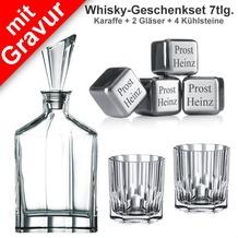 Nachtmann Whisky-Geschenkset Aspen 7tlg. Set mit Gravur (1 Dekanter/Karaffe + 2 Whiskygläser + 4 Whiskysteine mit Wunschgravur)